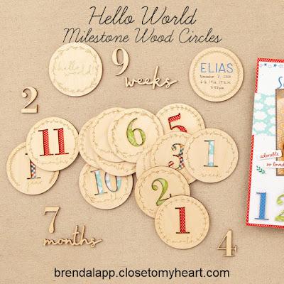 Hello World Milestone Wood Circles