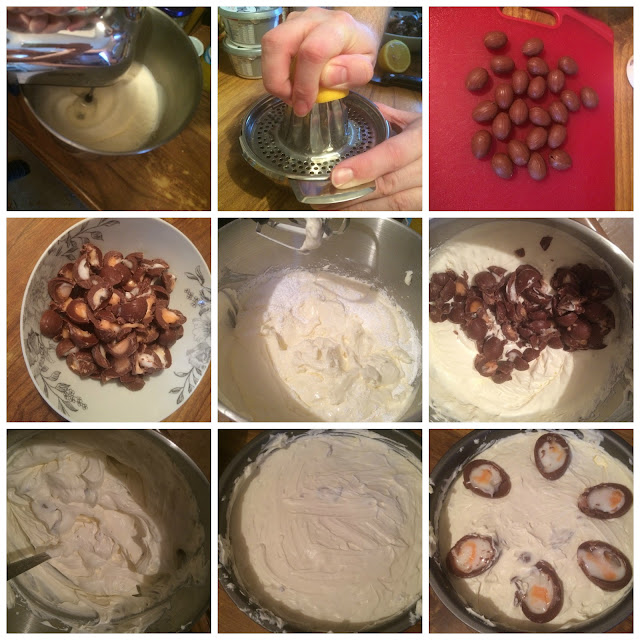Photos of the steps of making the cream egg cheesecake