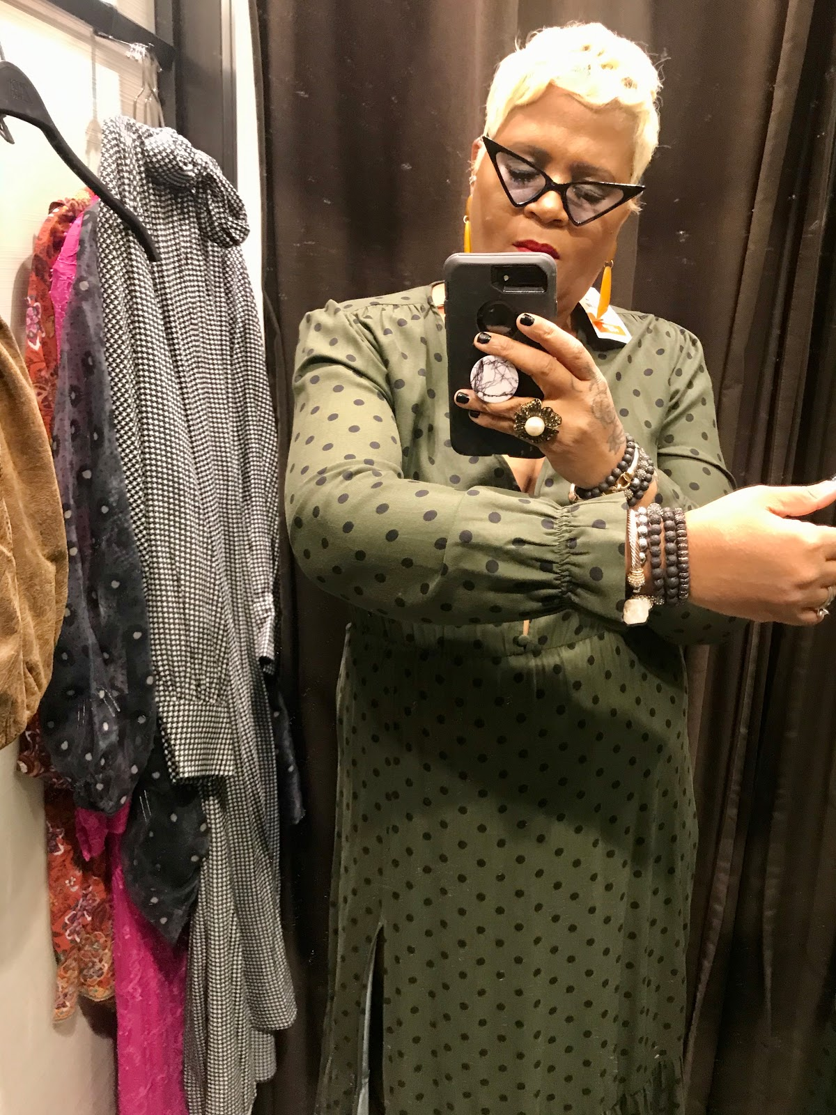 Green Dress try On at Zara store in Dallas Mall