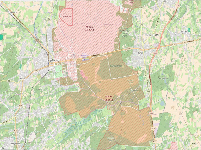 Beverlo training area marked in red