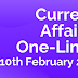 Current Affairs One-Liner: 10th February 2020