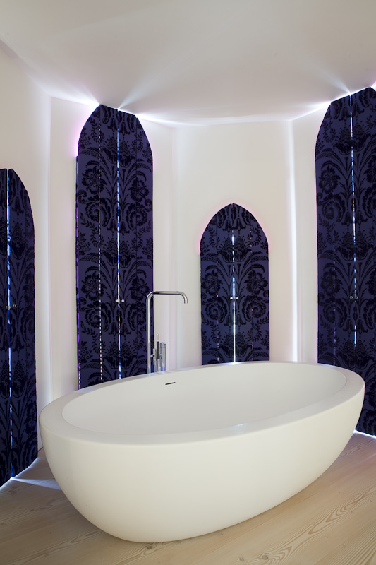 Picture of modern white bath tub in the bathroom