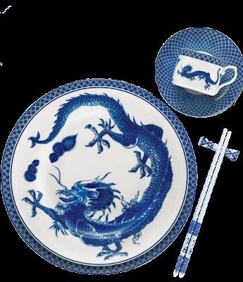 vajilla de porcelana con estampado de dragón