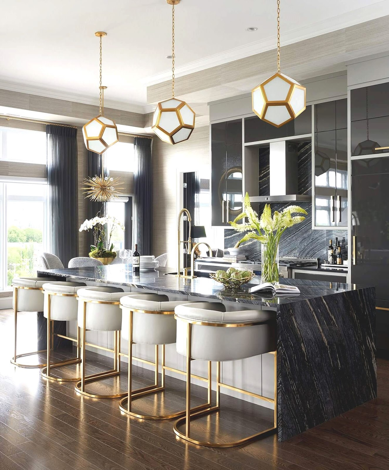 NONAGON style ns who wore it better Atmosphere marble kitchen dark black glamour art deco gold luxury island stools