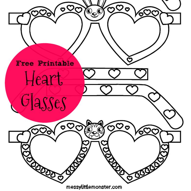 free printable glasses heart craft