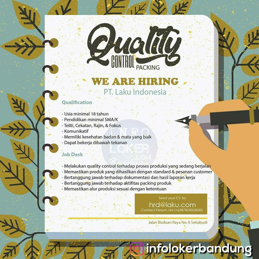 Lowongan Kerja Quality Control Packing PT. Laku Indonesia Bandung Desember 2018