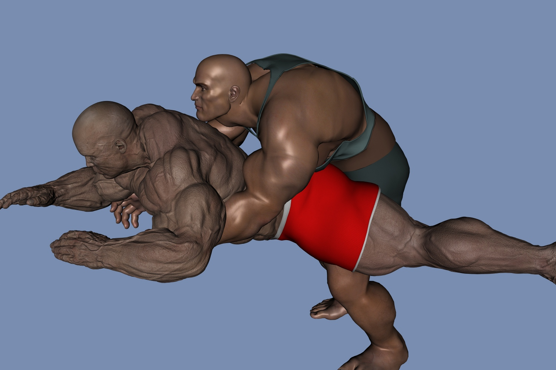Erotic wrestle muscle man
