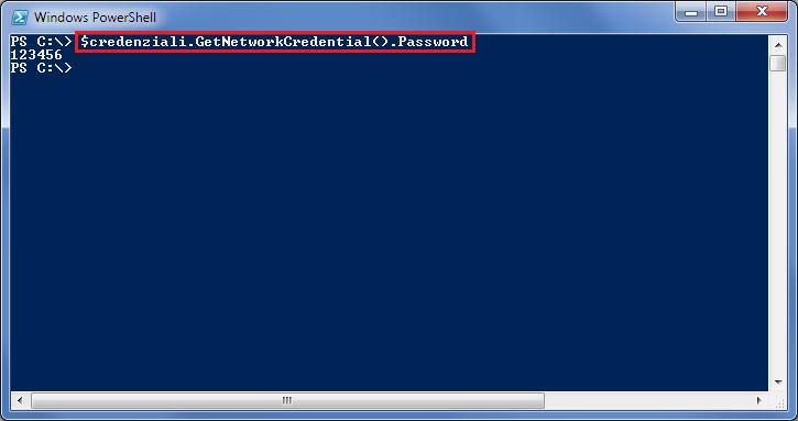 Visualizzare la password memorizzata all'interno di un oggetto PSCredential