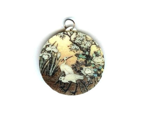 Cranes and Flowers Pendant