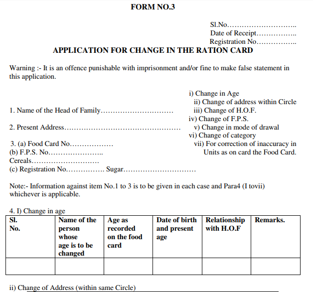 J&K Food Card Changes Form