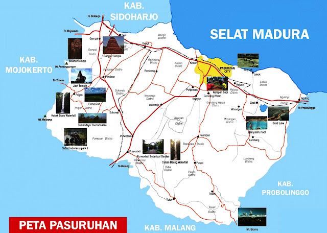 Pasuruan yakni salah satu kabupaten di Provinsi Jawa Timur Peta Pasuruan Lengkap 24 Kecamatan