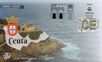 Ceuta, 12 meses, 12 sellos, 12 provincias, matasellos, sello, sobre, filatelia,