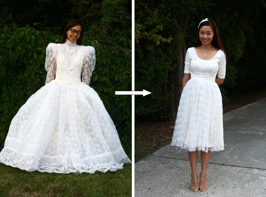 DIY: Vintage Wedding Dress To A Cocktail Dress