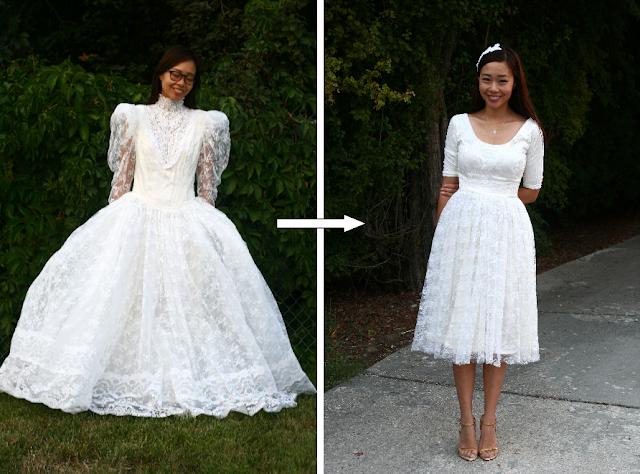 Wedding dress refashion DIY