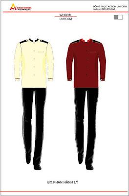 Mẫu đồng phục bếp trắng đỏ