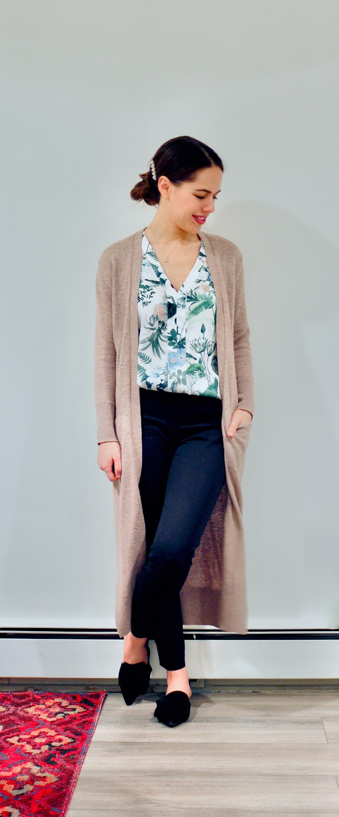 Jules in Flats - Duster Cardigan with Botanical Print Blouse (Business Casual Winter Workwear on a Budget)