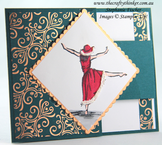 #thecraftythinker #stampinup #cardmaking #xmascard #bucklefold #funfold , Christmas card, Buckle Card, Fun Fold, Beautiful You, Brick & Mortar 3D, Stampin' Up Demonstrator, Stephanie Fischer, Sydney NSW