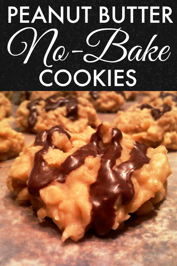 A tried and true recipe for no-bake cookies made with peanut butter and oats topped with an easy cocoa drizzle.