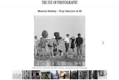 screenshot of online article from :'oeil de la Photographie about Tony Vaccaro at 98 exhibition