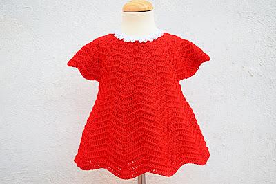Crochet Imagen Vestido rojo navideño en conjunto con capa por Majovel Crochet