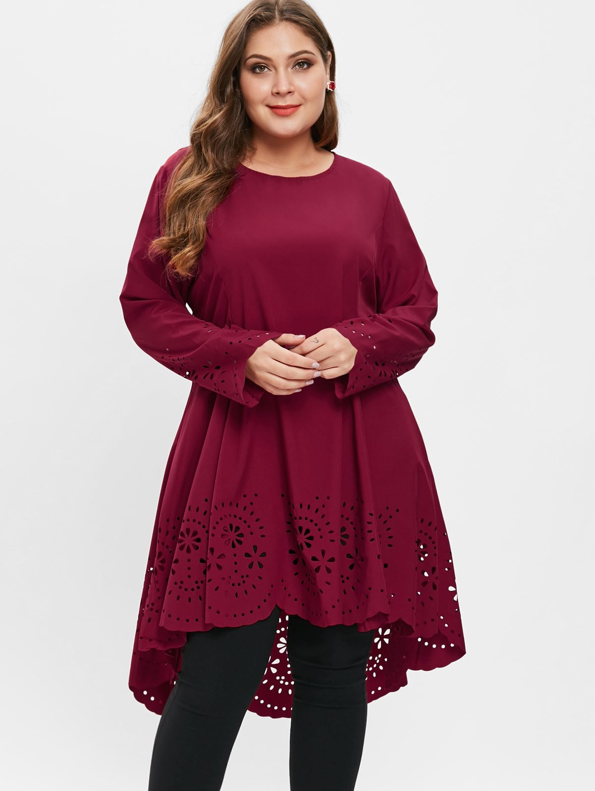 Plus Size Laser Cut High Low Dress