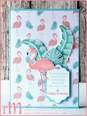 Stampin' Up! rosa Mädchen Kulmbach: Flamingo-Geburtstagskarte mit Pop of Paradise und Vielschichtig