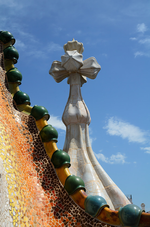 Casa Batllo Roof Tiles and Cross by Gaudi