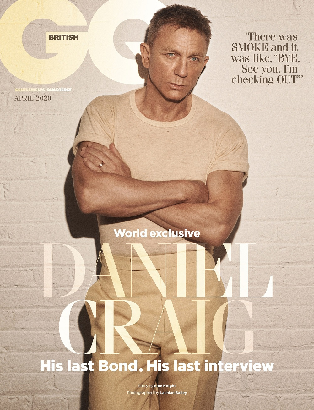 Daniel Craig is featured on the cover of the April 2020 Issue of British GQ