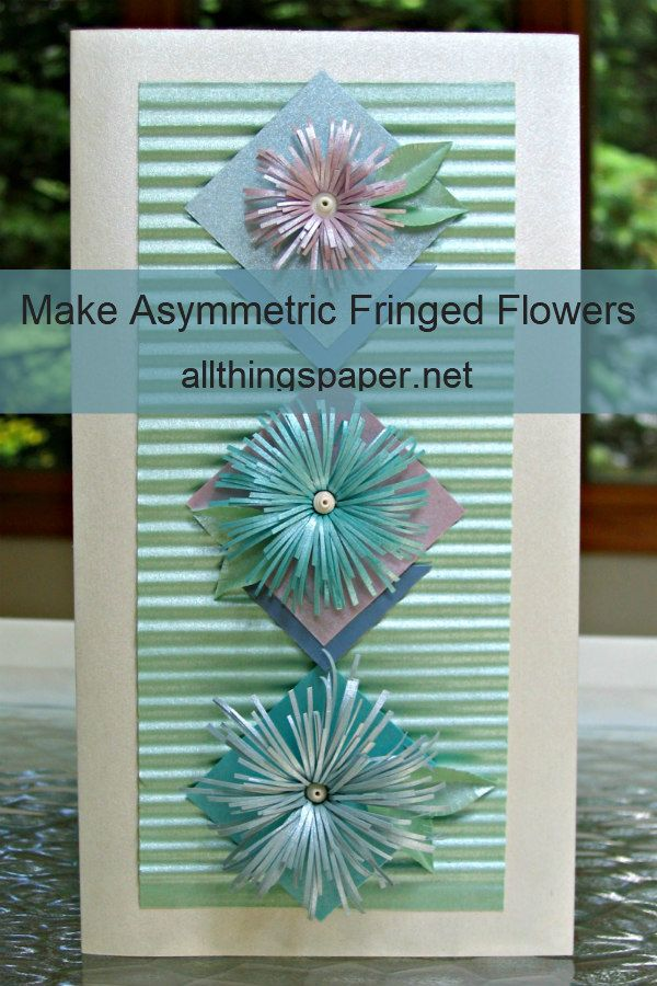 fringed flower trio on vertical greeting card