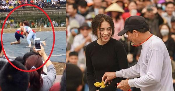 Clip nữ sinh 2k2 tham gia hội vật, cân cả làng ở Hải Phòng