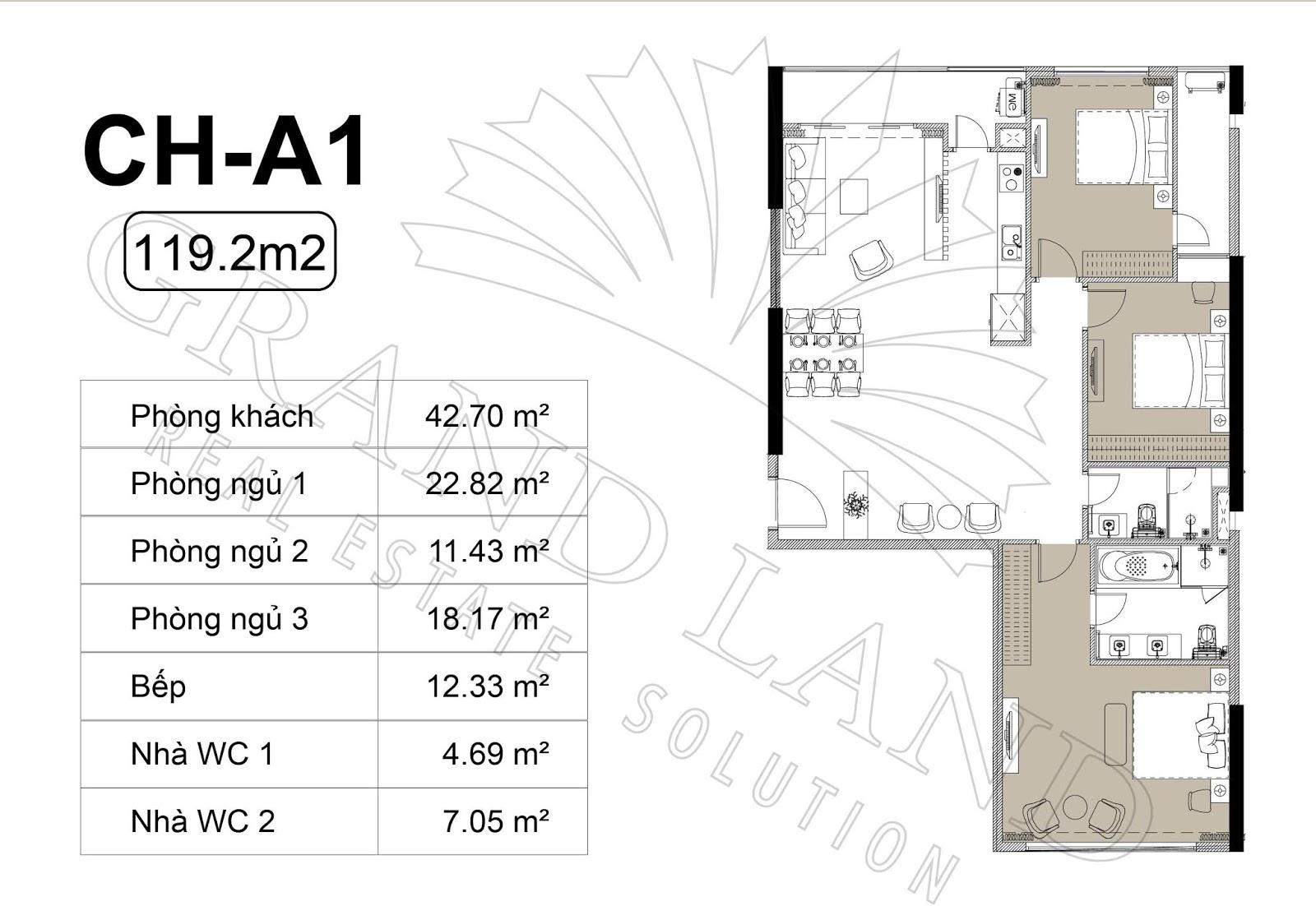 Thiết kế căn hộ 3PN 119m2 tại chung cư DLC Complex