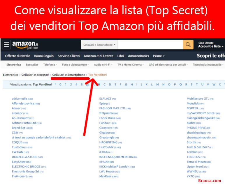 La lista dei migliori venditori Top Amazon