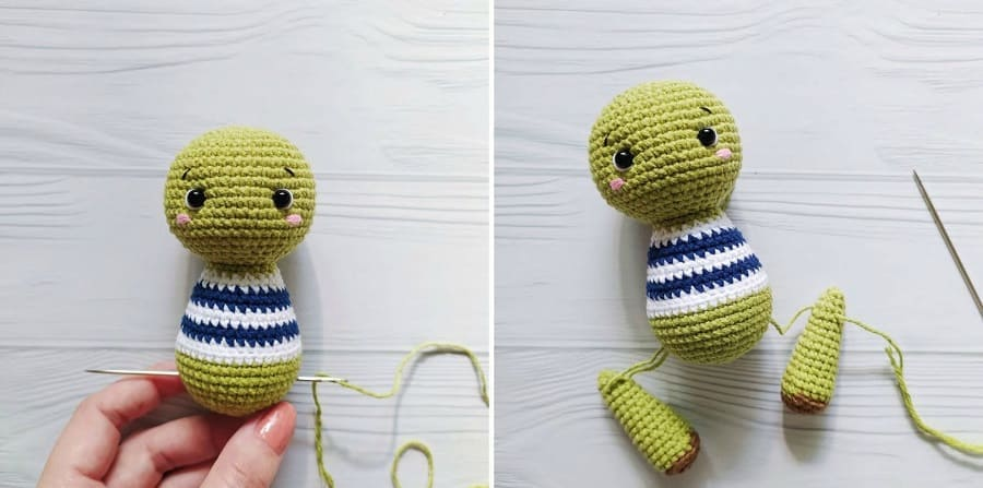 Crochet turtle tutorial: attaching legs to the body