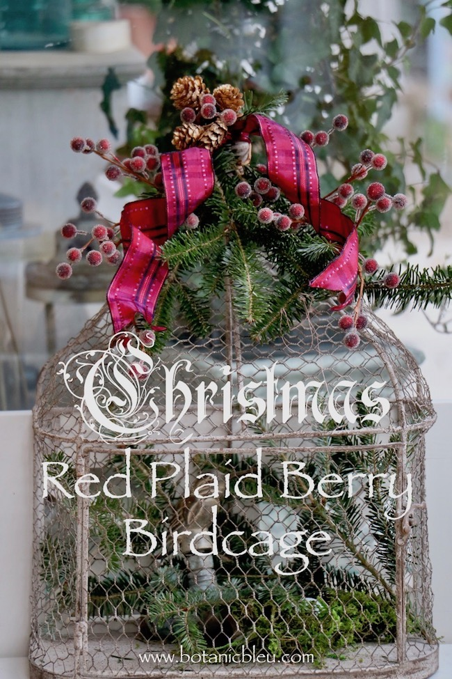 Christmas red plaid berry birdcage inspired by new placemats and napkins in upcoming post