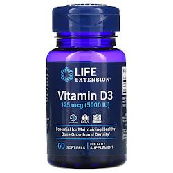 Life Extension, витамин D3, 125 мкг (5000 МЕ), 60 капсул