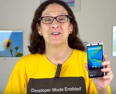 Lisa Gade Holding BlackBerry KEYone