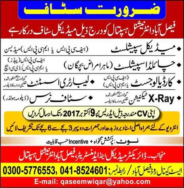 Jobs In Faisalabad International Hospital  October 2017