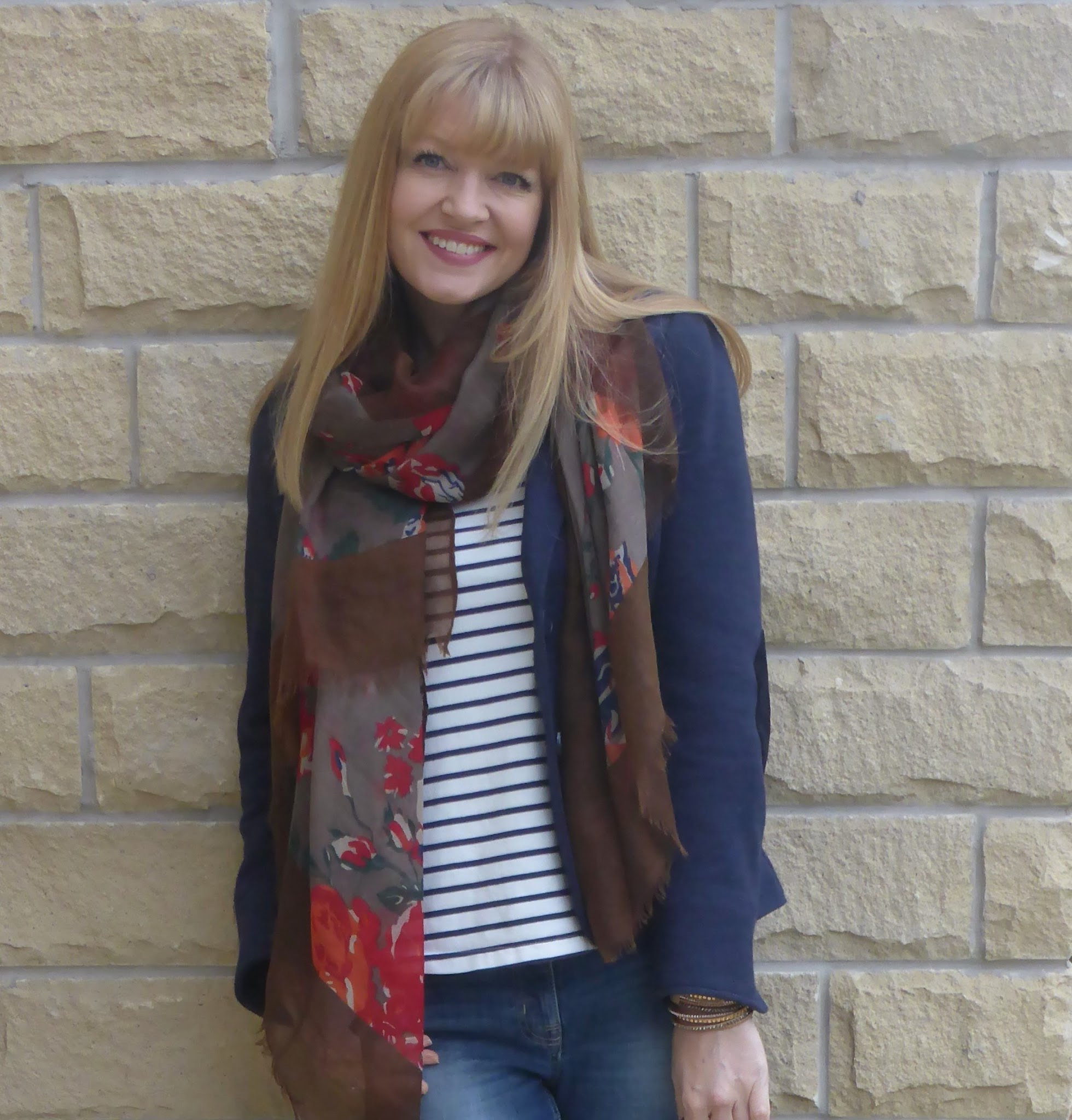 What Lizzy Loves, breton top, boyfriend jeans, brown leather brogues and Mulberry Bayswater satchel bag
