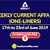 Weekly Current Affairs - One-Liners | 17th to 23rd June 2019