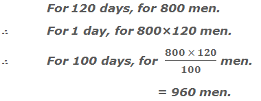 For 120 days, there is provision for 800 men.     ∴ For 1 day, there is provision for 800×120 men.     ∴ 100 days, there is provision for  (800×120)/100 men.  = 960 men.