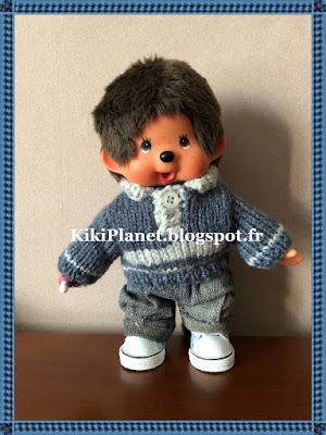 pull polo tricot vêtement kiki monchhichi poupée tous vintage kiki le vrai handmade fait main