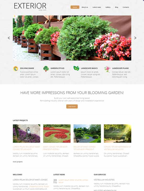 20 awesome exterior design landscaping website templates for Exterior design website templates
