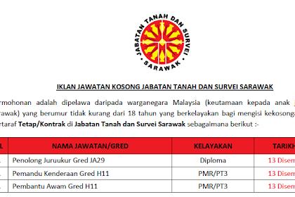 Jawatan Kosong Kerajaan di Jabatan Tanah dan Survei Sarawak | Tarikh Tutup: 13 Disember 2019