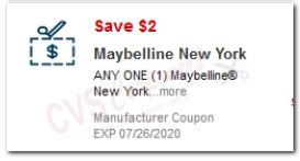 "LOAD $2.00 Off Maybelline item CVS APP ONLY ""STORE"" Coupon (Go to CVS App)"