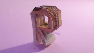 how to make money 3d origami alphabet R tutorials hướng dẫn cách gấp chữ R bằng tiền giấy