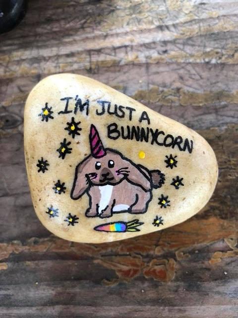 bunnycorn rock painting ideas