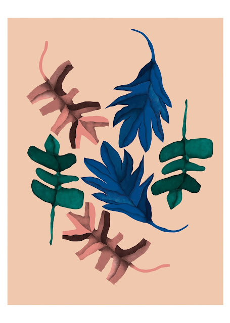 Ilustración de hojas para Rachel´s Puzzle Things - Botanical illustration for my Etsy shop.
