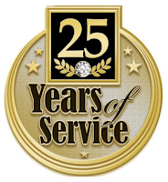 "gold pin that says ""25 years of service"""
