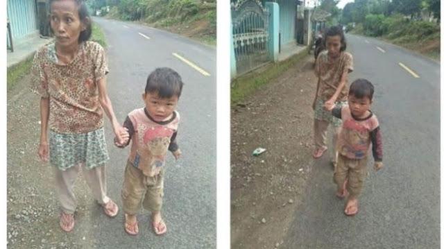 Bocah 5 Tahun ini Tiap Hari Tuntun Ibunya yang Buta untuk Berjalan, Kondisi Mereka Juga Serba Kekurangan, Tidur Beralaskan Kardus
