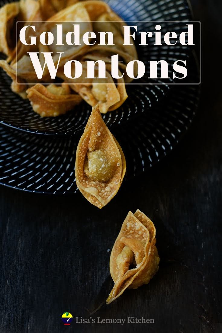 These fried wontons are the most addictive snacks ever! Perfect as finger food for a parties, large gathering.  These tasty wontons are easy to make, especially when you have others to help you fold them!